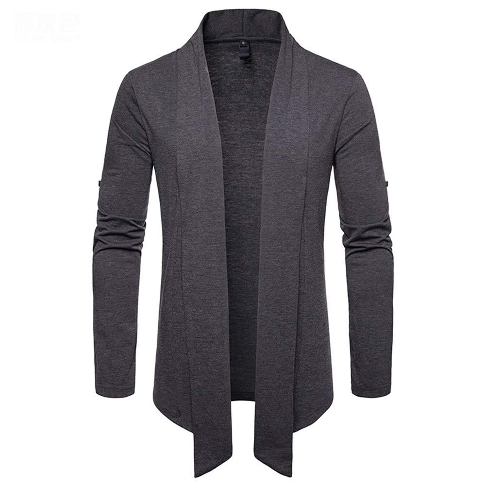 Zhangyuhong Men's Knit Coat, Big Size Casual Men's Cardigan Slim -Fit Lapel Sweatshirt Long -Sleeve Solid Knit Cardigan, B,M