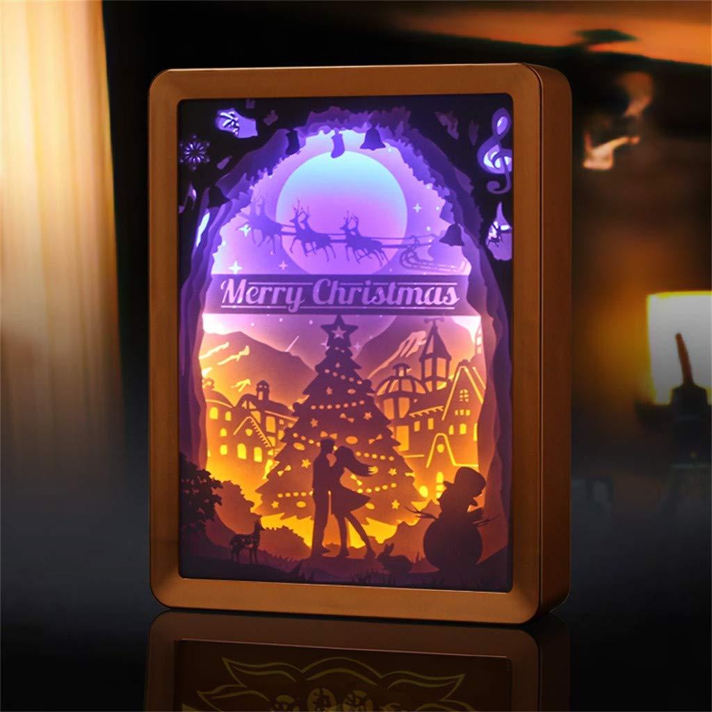 Night Light, QHJ Christmas tree Paper Carving Lamp Gift LED 3D Stereoscopic Light Creative (Blue)