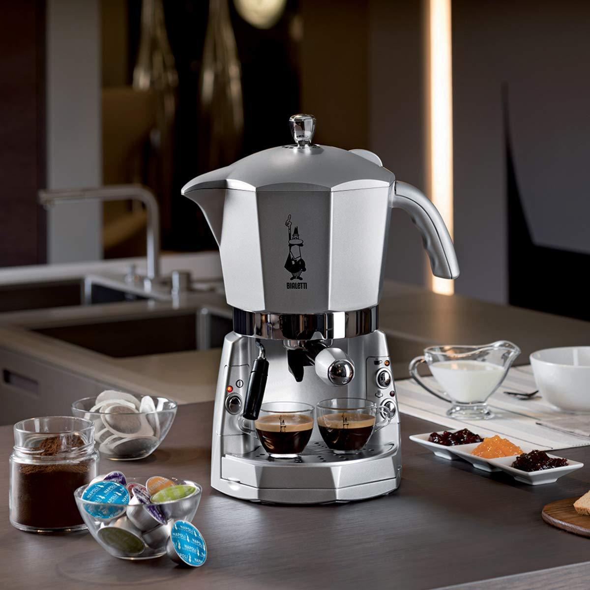 Bialetti Mokona Trio Independiente, Espresso machine, Coffee capsule, Coffee pod, De caf/é molido, Caf/é expreso, Caf/é, Plata, Botones Cafetera