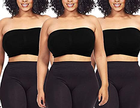 5ce1ec25b18 Dinamit Jeans 3-Pack Plus Size Seamless Strapless Bandeau Tube Top Bra at Amazon  Women s Clothing store