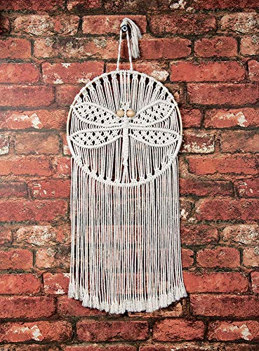 Solid Oak SOLMWH.009 Macrame Wall Hanging Dragonfly ()