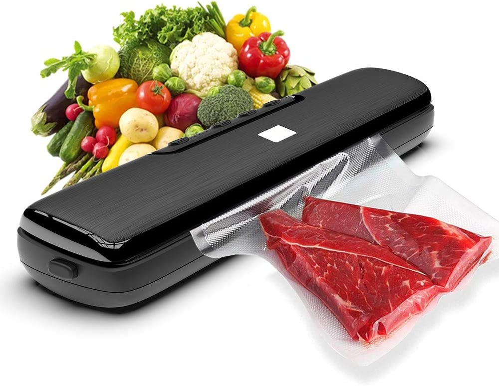 Vacuum Sealer Machine, Manual Food Sealer Machine for Food Preservation, Dry & Moist Food Seal Modes, LED Indicator Lights, Provide 15 pcs Vacuum Bags