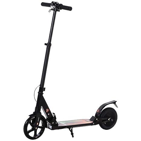 HOMCOM Patinete Eléctrico para Mayores de 14 Años E-Scooter Plegable Manillar Ajustable 15km/h Batería Recargable 22,6V Monopatín 150W Carga 100kg