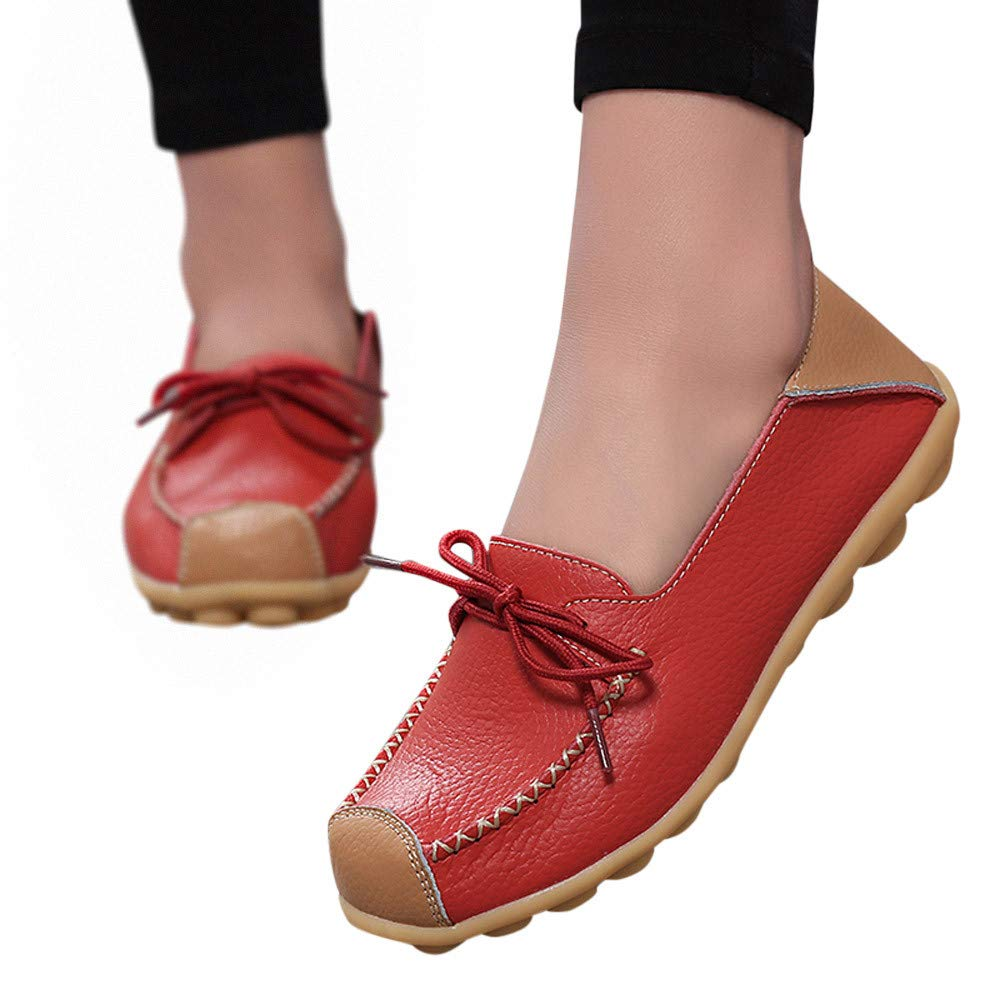 VANSOON Clearance Sandals Deals! Women Peas Shoe Casual Women's Bowknot Flat Breathable Wild Leisure Peas Boat Shoes Red