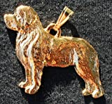 Jewelry : Newfoundland Dog 24k Gold Plated Pewter Pendant
