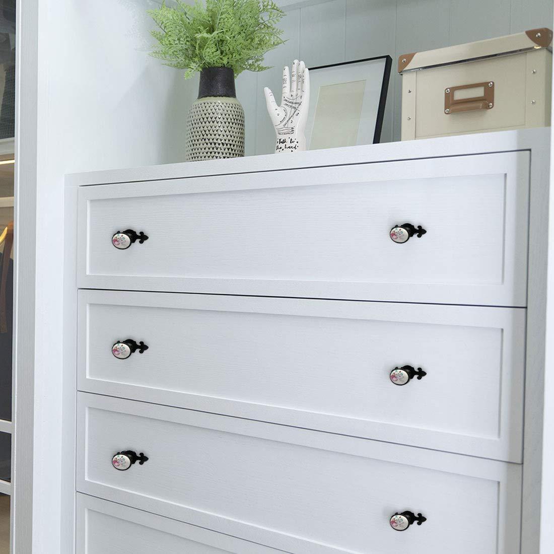uxcell 4pcs Ceramic Knobs Vintage Knob Drawer Oval Shaped Pull Handle Furniture Door Cabinet Cupboard Wardrobe Dresser Decoration #2