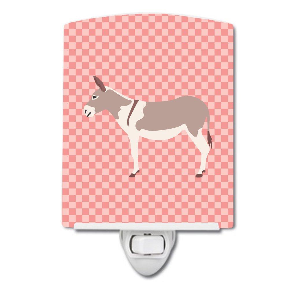 Carolines Treasures Australian Teamster Donkey Pink Check Ceramic Night Light 6x4 Multicolor