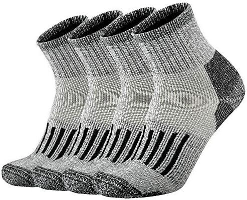 ONKE Men's Merino Wool Moisture Wicking Control Thermal Outdoor Hiking Heavy Cushion Low Cut Socks 4 Pack