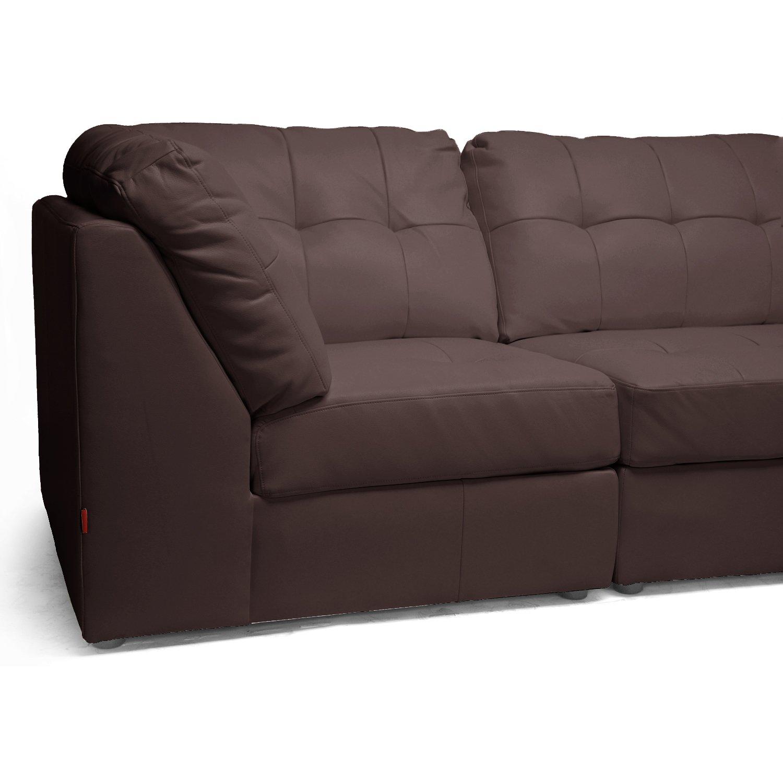 Baxton Studio Warren Leather Modern Modular Sectional Sofa Set