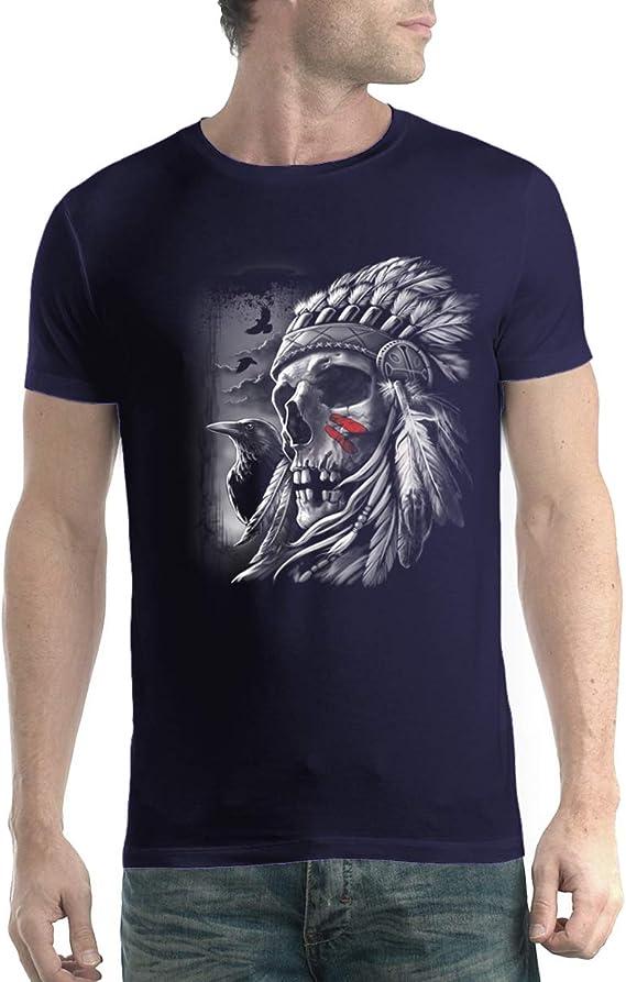 Amérindien Tête T-Shirt - Crâne Indien Crâne Tête Robe Sb