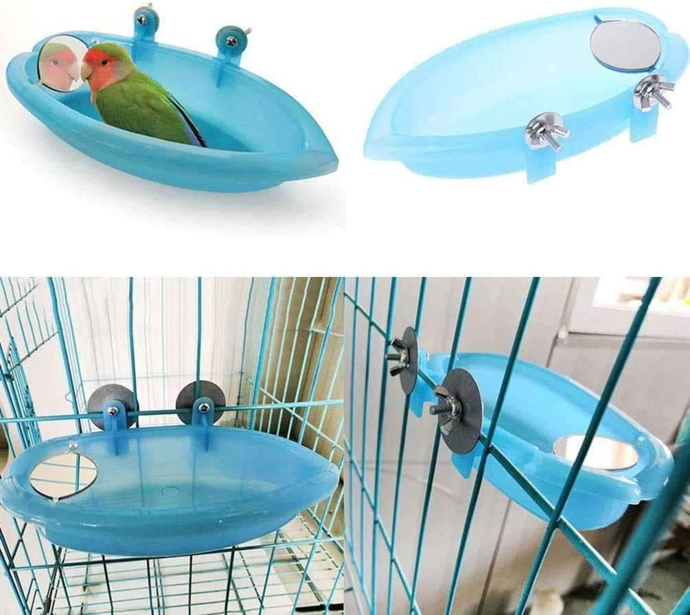 Best Match 2 PCS Bird Cage Accessories for Small Parrots Parakeet Cockatiel Conure Lovebird Finch Budgie Bird Perch with Feeder Cups and Bathtub with Mirror Toy