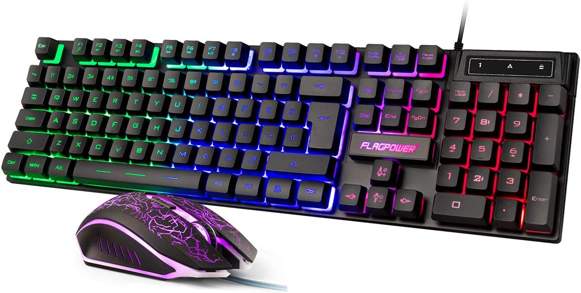 FLAGPOWER Gaming Keyboard and Mouse Combo, Rainbow Backlit Mechanical Feeling Keyboard with 4 Colors Breathing LED Backlight Mouse for PC Laptop Computer Game and Work