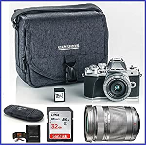 Olympus OM-D E-M10 Mark III (Mark 3) Mirrorless Digital Camera with 14-42mm EZ Lens + M.Zuiko Digital ED 40-150mm f/4.0-5.6 R Lens (Silver) + 48GB SDHC Memory Cards + Olympus Camera Case
