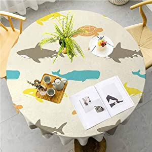 JKTOWN Sea Animals Custom Tablecloth Country Chic Wedding Party Dining Room 55 inch Pattern with Whale Shark and Turtle Aquarium Doodle Style Marine Life