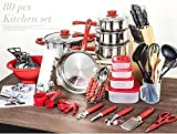 Cookware Cooking Pots And Pans Set 80 Piece Kitchen Starter Combo Utensil - RED