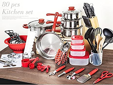 Nice Cookware Cooking Pots And Pans Set 80 Piece Kitchen Starter Combo Utensil    RED