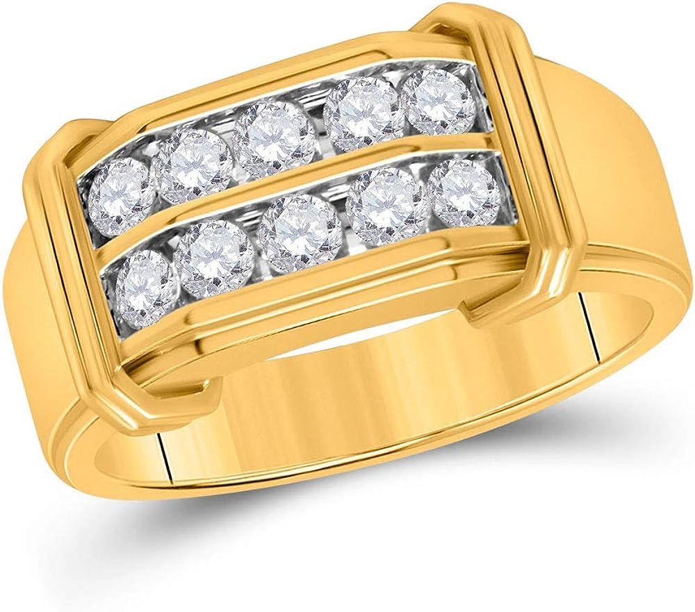 Diamond2Deal - Anillo de oro amarillo de 10 quilates con diamante redondo de doble fila para hombres de 3/8 quilates