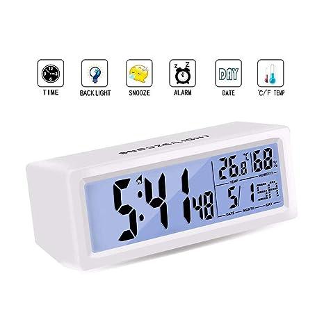 Rokkes - Reloj Despertador Digital de Noche silencioso, Funciona con Pilas, Reloj Digital Inteligente