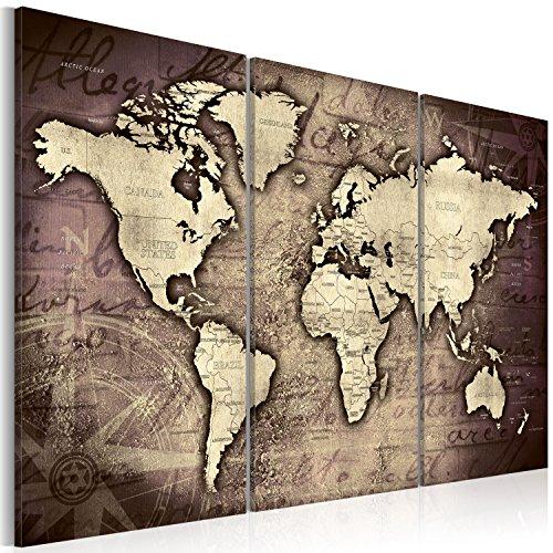 Bilder 120x80 cm - 3 Farben zur Auswahl - XXL Format - TOP Vlies Leinwand - 3 Teilig - Wand Bild Kunstdruck Wandbild - Weltkarte Kontinent Landkarte Karte k-A-0066-b-c 120x80 cm B&D XXL