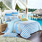 TheFit Paisley Textile Bedding for Adult U345 Purple Nature Tree Duvet Cover Set 100% Tencel, Queen King Set, 4 Pieces (King)