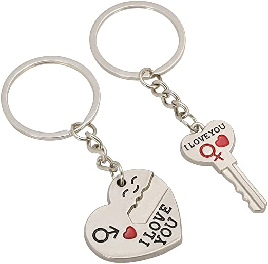 Anniversary Valentines Gift I Love You Keyring with Heart Keepsake