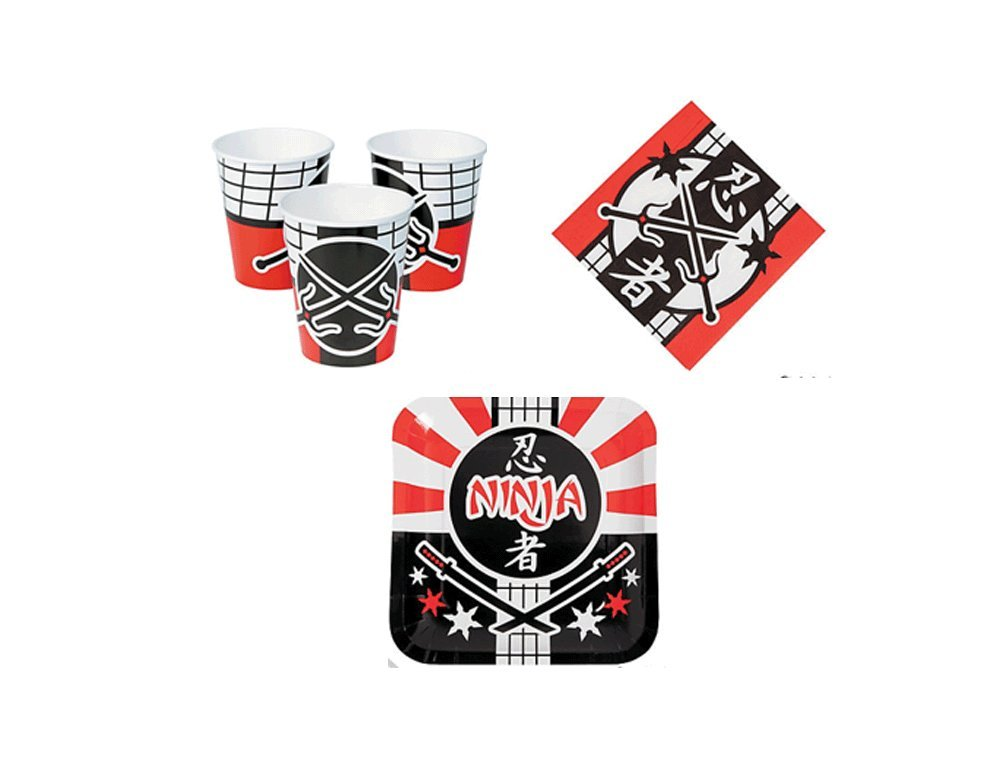 Ninja Party Kit Birthday Party Supplies Set Ninja Theme Dinner Plates and Napkins and Cups