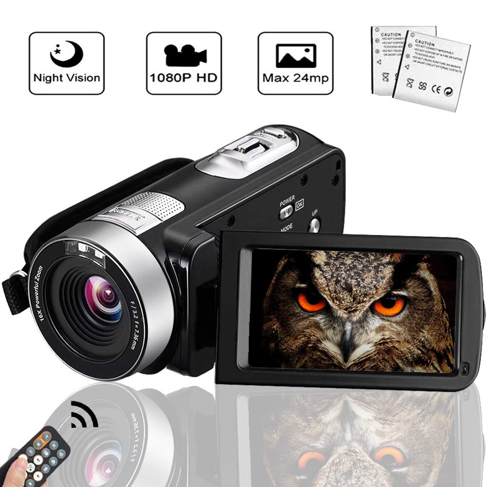 Camcorder Digital Camera Full HD 1080p 18X Digital Zoom Night Vision Pause Function with 3.0'' LCD and 270 Degree Rotation Screen with Remote Controller by SEREE