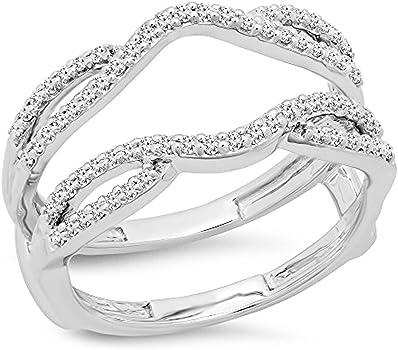 anillo de oro blanco doble con diamantes