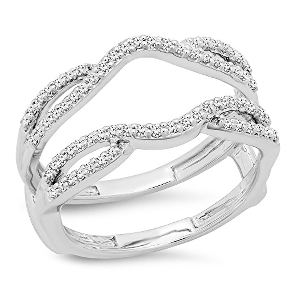 Dazzlingrock Collection 0.35 Carat (ctw) 10K White Diamond Wedding Band Enhancer Guard Double Ring 1/3 CT, White Gold, Size 8
