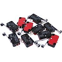 DollaTek 10 st V-156-1C25 Micro Limit Switch med lång gångjärnsrulle Momentär SPDT Snap Action för Arduino