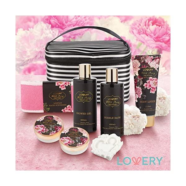 Home-Spa-Gift-Basket-Luxurious-8-Piece-Bath-Body-Set-For-MenWomen-Fresh-Peony-Scent-Contains-Shower-Gel-Bubble-Bath-Body-Lotion-Bath-Salt-Body-Scrub-Bath-Soap-Back-Scrubber-Cosmetic-Bag