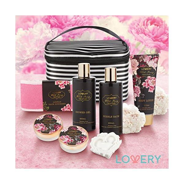 Home-Spa-Gift-Basket-Luxurious-8-Piece-Bath-Body-Set-For-MenWomen-Fresh-Peony-Scent-Contains-Shower-Gel-Bubble-Bath-Body-Lotion-Bath-Salt-Body-Scrub-Bath-Soap-Back-Scrubber-Cosmetic-Bag
