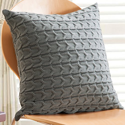 Sanifer Cable Knit Cotton Throw Pillow Cover 20x20 Pillow Case Decorative Cushion Cover for Sofa Couch Bed (Cover Only, Dark Grey)