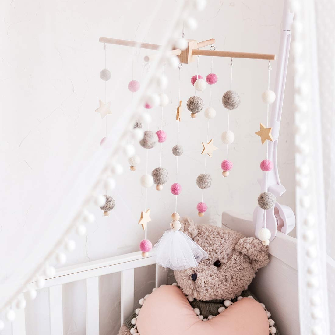 lets make Babybett Mobile H/ölzerne Windspiel Bettglocke Mobile Kinderbett Baby Schlafzimmer Decke Holzperlen Windspiel H/ängen