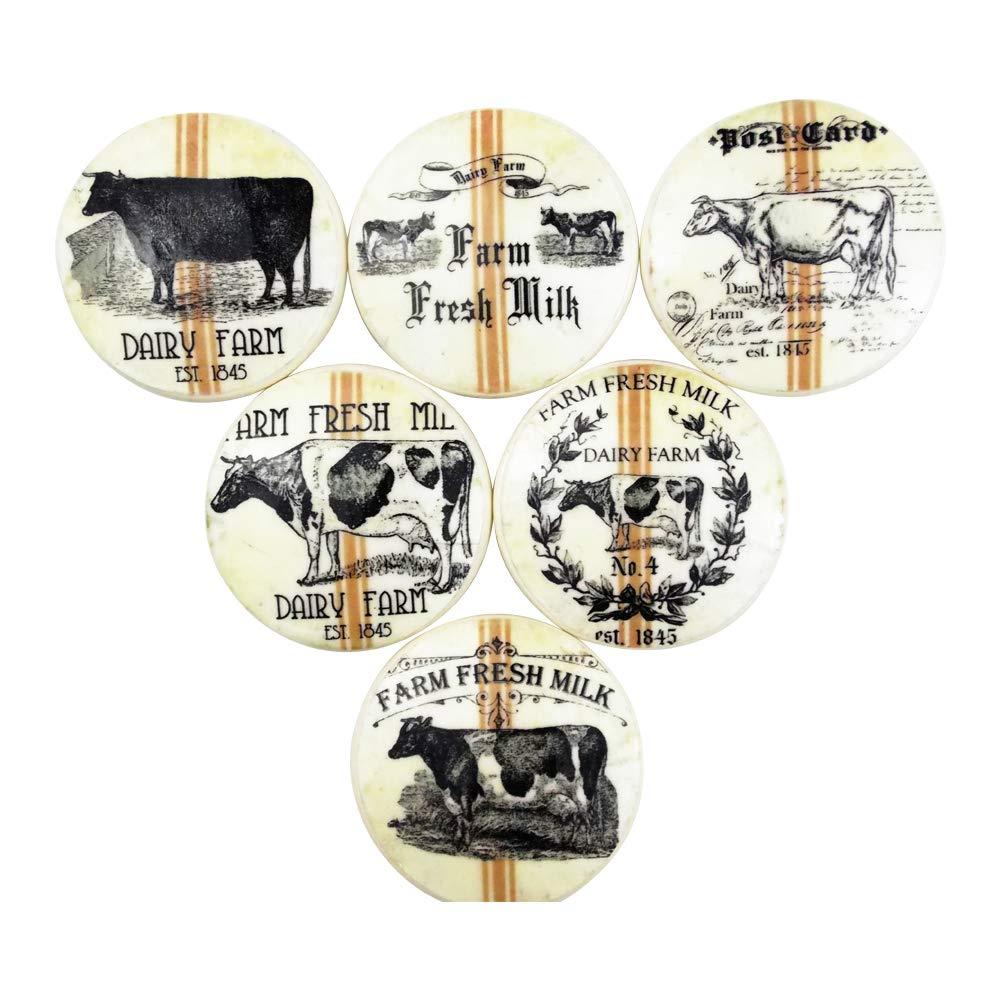 Set of 6 Farm Fresh Dairy Cabinet Knobs (Set 1)