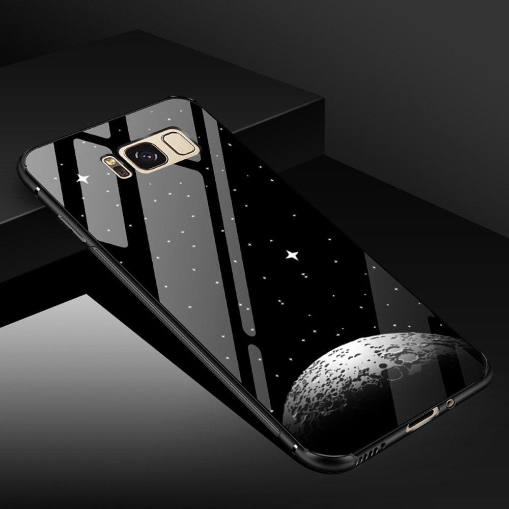 Weiche TPU Bumper Slim Shockproof Hybrid H/ülle Case Schutzh/ülle f/ür Samsung Galaxy S8 Plus Edaroo Samsung S8 Plus H/ülle Coole Schwarz Glossy Vintage Rosa Muster D/ünn 2 in 1 Glas H/ülle