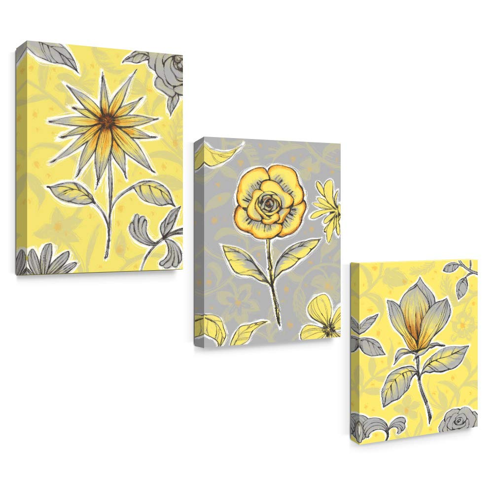 Amazon com sumgar canvas wall art flowers yellow and gray framed floral modern prints for living room set of 3 posters prints