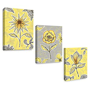 SUMGAR Canvas Wall Art Flowers Yellow and Gray Framed Floral Modern Prints for Living Room,Set of 3