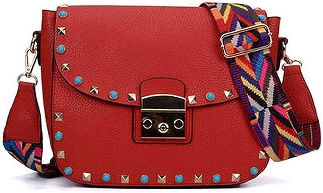 Flap Rivet womens Fashion Crossbody Bags For Women Ladies Shoulder Bag Colorful Strap Female,PINK