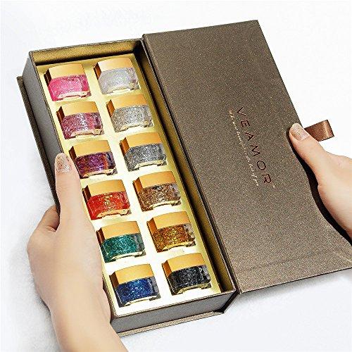 Glitter Uv Builder Gel - VEAMOR UV Builder Gel Polish Kit Soak Off UV Glitter Nail Gel Polish Gift Box