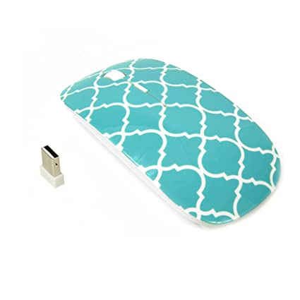 TopCase Quatrefoil/Moroccan Trellis Series Hot Blue/Turquoise USB Optical Wireless Mouse for MacBook