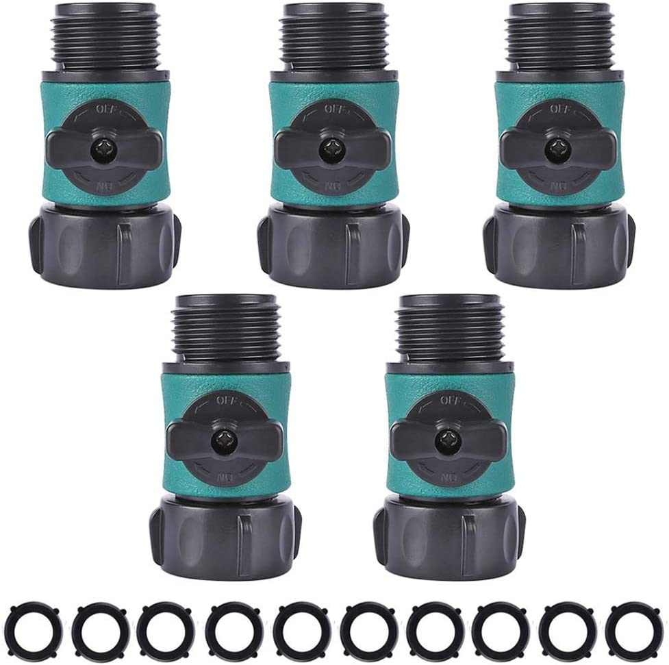 "HONG 111 Garden Hose Shut Off Valve, Water Hose Turn Off Valve Garden Hose Connector Set with Rubber Gaskets (10PCS)+Leak-Free Ball Valve (5PCS) Standard 3/4"" Thread"
