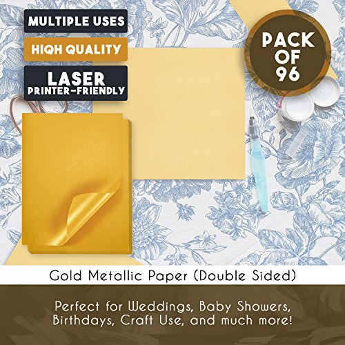 Best Paper Greetings 96-Pack Glitter Shimmer Gold Colored Paper for DIY Crafts, Origami, and Paper Flowers, Double Sided, 8.5 x 11 Inches