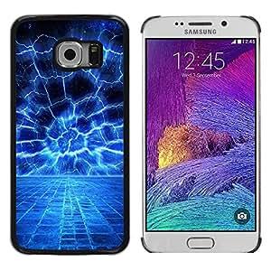 TopCaseStore / la caja del caucho duro de la cubierta de protección de la piel - Blue Electrical Storm - Samsung Galaxy S6 EDGE SM-G925