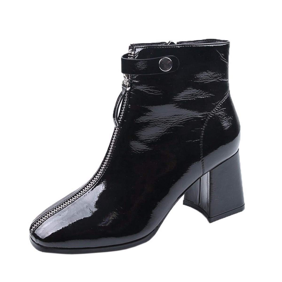 LBTSQ Damenschuhe Platz Kopf Kurze Stiefel Heel 6 cm Nahe Bei Bloßen Stiefel Winter Dicke Sohle 100 Sätze Samt Martin Stiefel