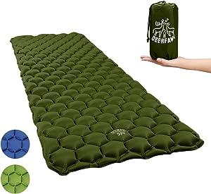 DEERFAMY Sleeping Pad for Camping, Inflating Sleeping Pad, Air Inflatable Backpacking Camping Pad Sleeping Mat Lightweight Compact Portable