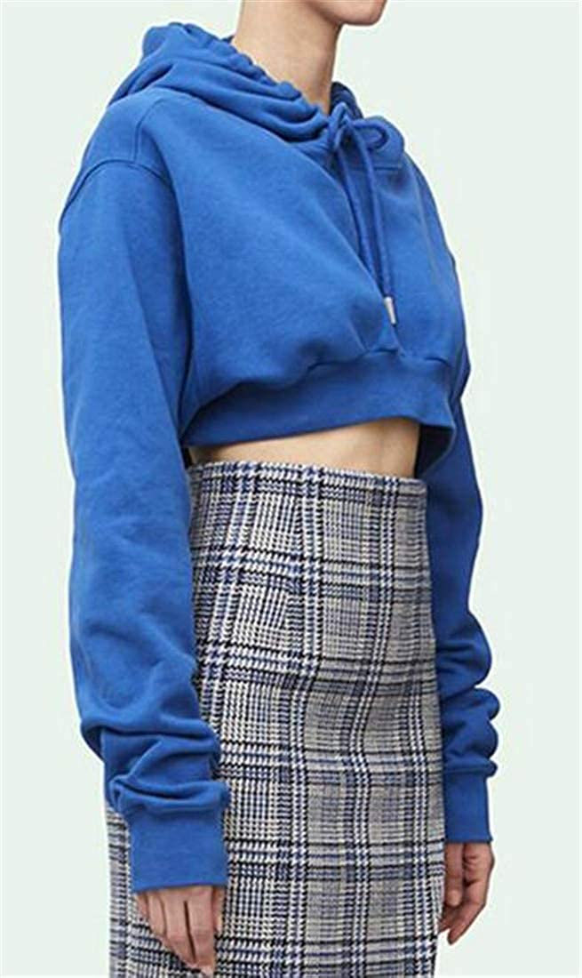 Etecredpow Womens Cropped Top Hoodie Drawstring Pure Colour Pullover Sweatshirts