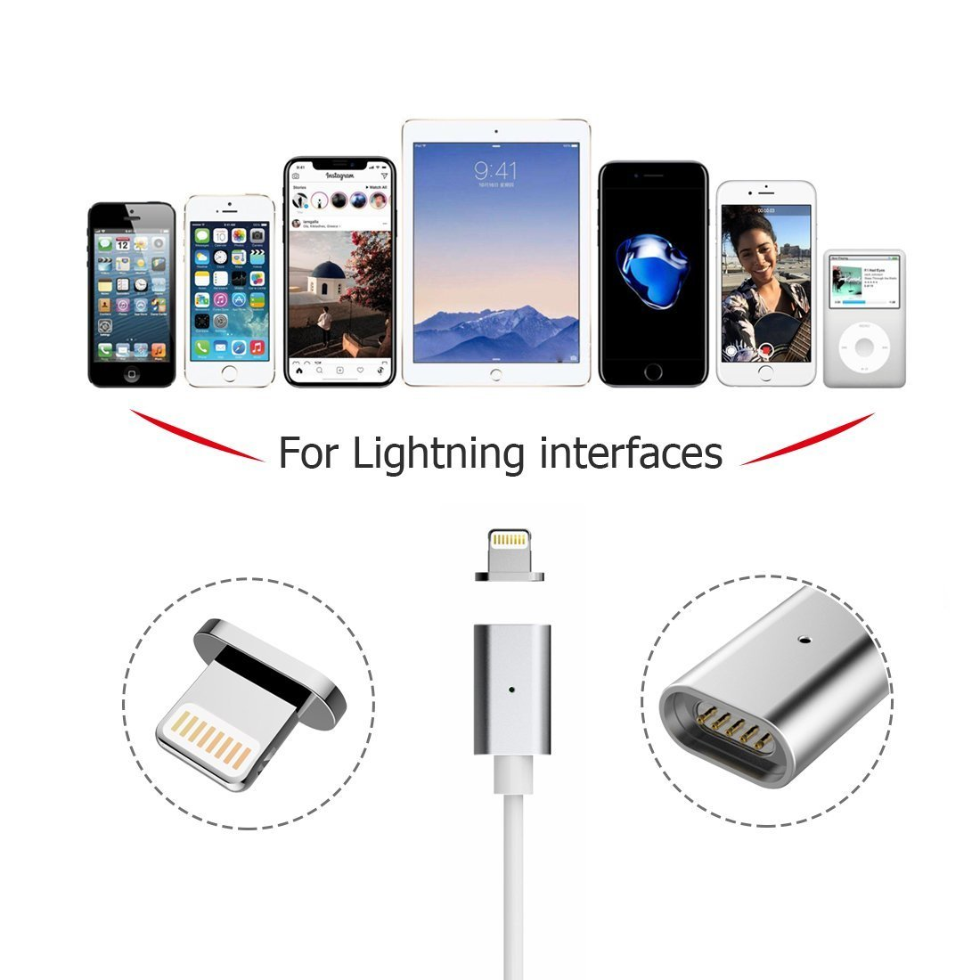 MAGNETIC CHARGING CABLE Fast Quick Car Charger USB (No Data /Sync Only Charging) Cable For Apple IOS Ipad IP Iphone 6/7/8/x/s/plus/pls Device (For lightning-Silver)