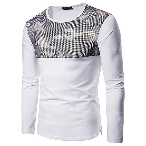 Longra 2018 Hombres de Malla Ocasional de Camuflaje Delgado Manga Larga Camiseta Pollover Top Blusa: Amazon.es: Ropa y accesorios