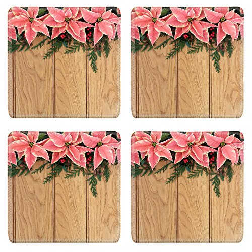 MSD Square Coasters Non-Slip Natural Rubber Desk Coasters design: 30645473 Pink poinsettia flower background border with holly and christmas greenery over oak wood